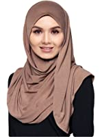 Hana's Womens Lightweight Poly Cotton Jersey Hijab Scarf