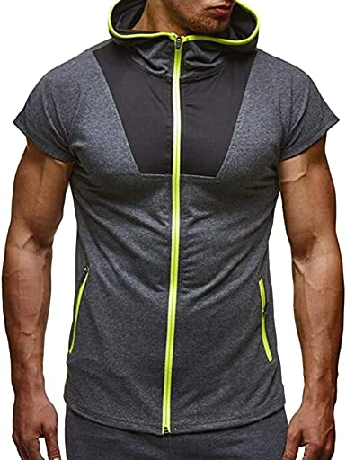 Fashion Men Patchwork Zip Pocket Sleeveless Vest Hooded Jacket Top