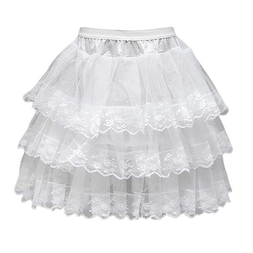 Mikiya - Vestido de Novia con Falda de 3 Capas sin Aros de Encaje ...