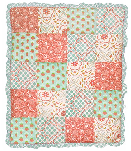 Mila Coral And Blue Floral Patchwork 4 Piece Baby Girl