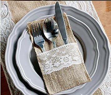 Cubiertos Cubiertos para Fiesta Boda Decoraci/ón Yute 21CM/×11CM Kentop 10pcs Natural Yute Punta Cubiertos Cuchillos y Tenedores Soporte Soporte Bolso