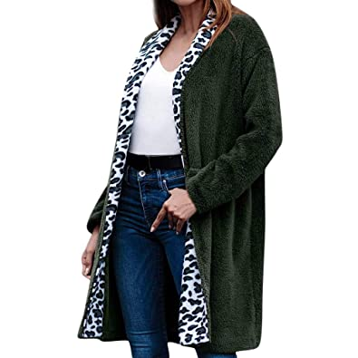 Mantel Kolylong Damen Elegant Leopard Plüsch Mantel Lang