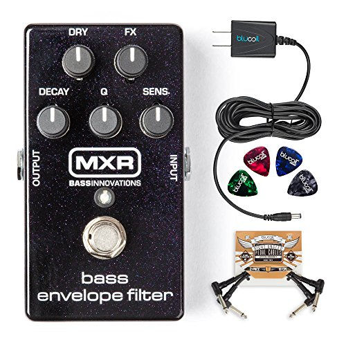 MXR M82 Bass Envelope Filter Pedal BUNDLED WITH Blucoil Power Supply Slim AC/DC Adapter for 9 Volt DC 670mA, 2 Pack of Pedal Patch Cables AND 4 Celluloid Guitar (Bass Envelope Filter Pedal)