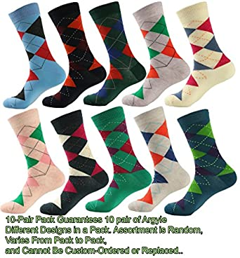 Mens Designer Dress Socks 10 Pair - Argyle at Amazon Men&-39-s ...