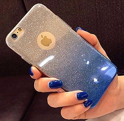 quality design 21fe9 f2f07 Amozo® Gradient Glitter Skin Soft Silicone Slim Back Cover Case for Apple  iPhone 6S & 6, Blue Color