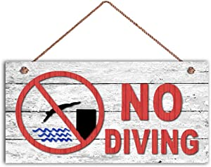 "na NO Diving Sign, Swimming Pool Sign, Pool Gate Sign, 10"" x 5"" Sign, Weathered Wood Design, Lake Sign"