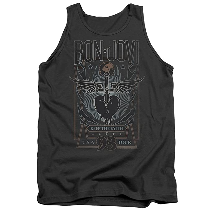 Amazon.com: Bon Jovi mantener la fe Tank parte superior ...