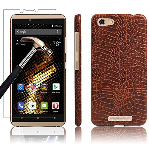4g Nano Sleeve Leather (Blu Vivo XL Case + Screen Protector, Gzerma Business Style Slim Fit PU Leather Coated Hard Back Cover with Shatterproof Protective Film for BLU V0030UU - 5.5
