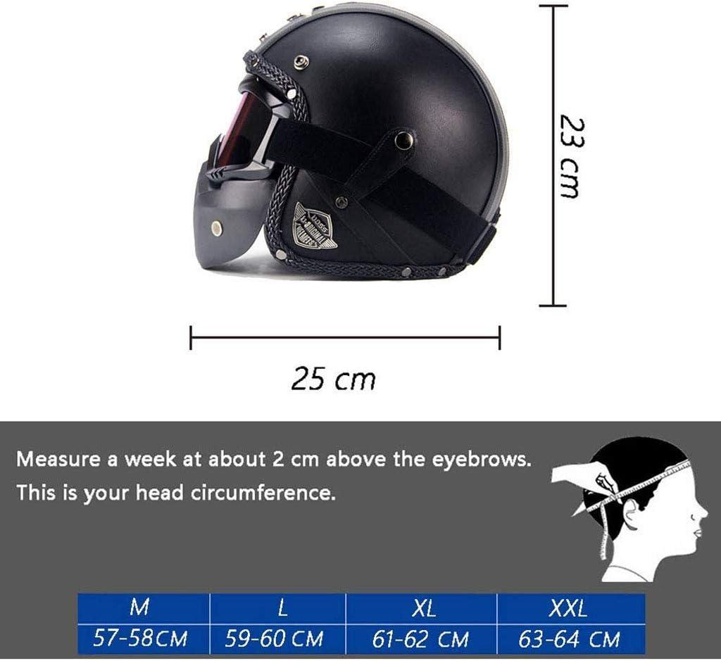 Casco da moto classico jet open face stile vintage per moto//moto//scooter Pilota biker Bobber Mofa Cruiser Chopper /· Design in pelle /· con visiera /· con borsa in tessuto /· 57-64 cm