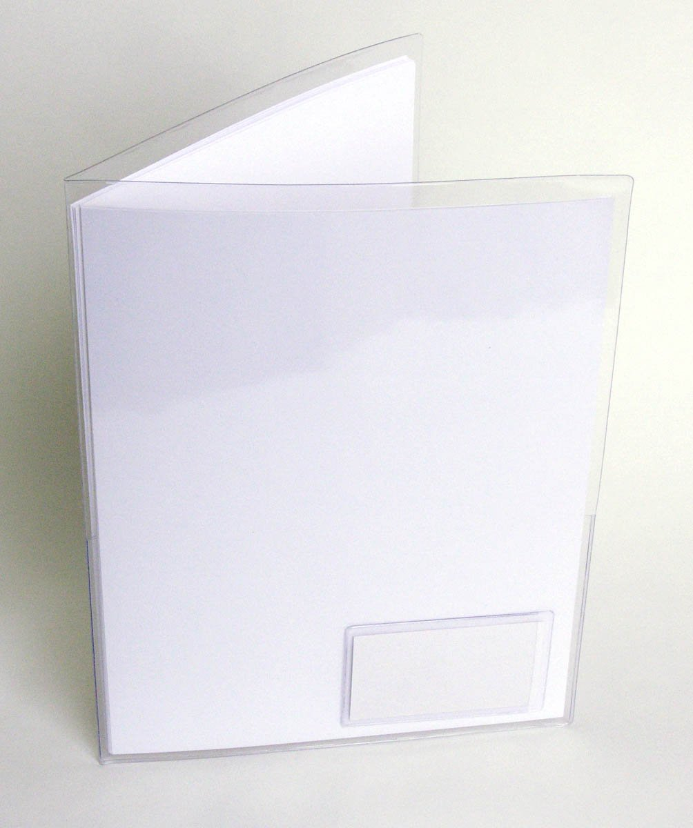 StoreSMART - Clear Plastic Folder with 2 pockets - with Business Card Holder on front - 100-Pack - 9.5'' x 11.75'' - R935FR-100