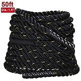 Yaheetech Training 1.5'' Polyester 50' Battle Rope Exercise Workout Strength Undulation Exercise Ropes Training Ropes w/magic tape sleeve,Black