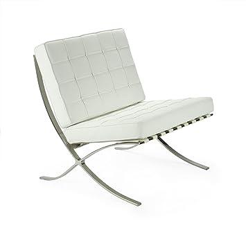 mueblespacio Replica silla Barcelona con ottoman - MSD15621020 - Blanco, Acero Cromado: Amazon.es: Hogar