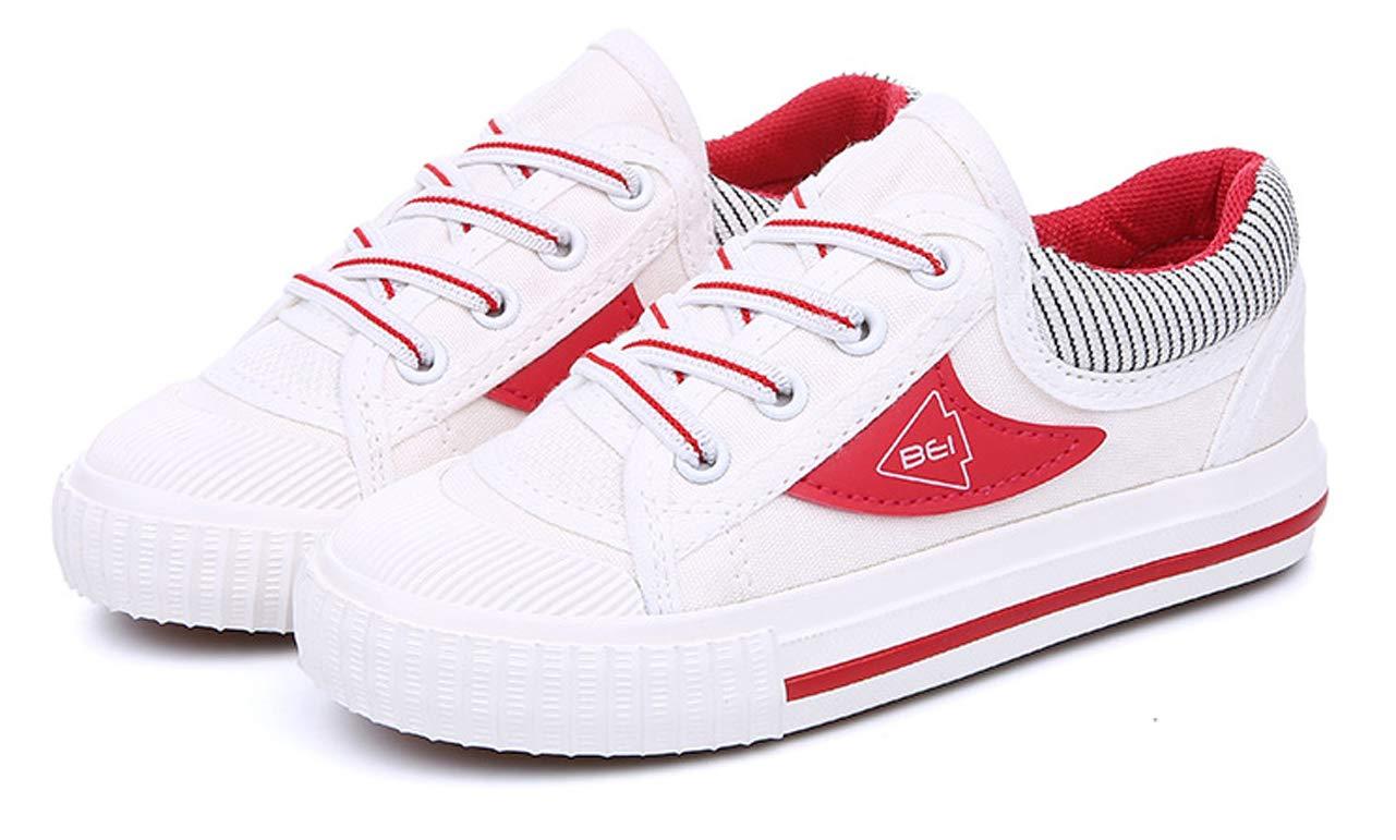 iDuoDuo Boys Girls Fashion Stripes Lace up Anti Slip School Tennis Shoes Red 9.5 M US Toddler by iDuoDuo (Image #3)