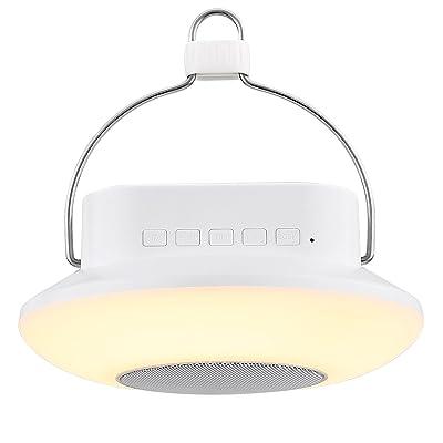 LE Lampe avec Enceinte Bluetooth, Lanterne LED RGB Multicolore, Lumière d'Ambiance, Contrôle Tactile, Rechargeable, 3 Niveaux de Lumière Dimmable, pour Camping Soirée Veilleuse Lecture