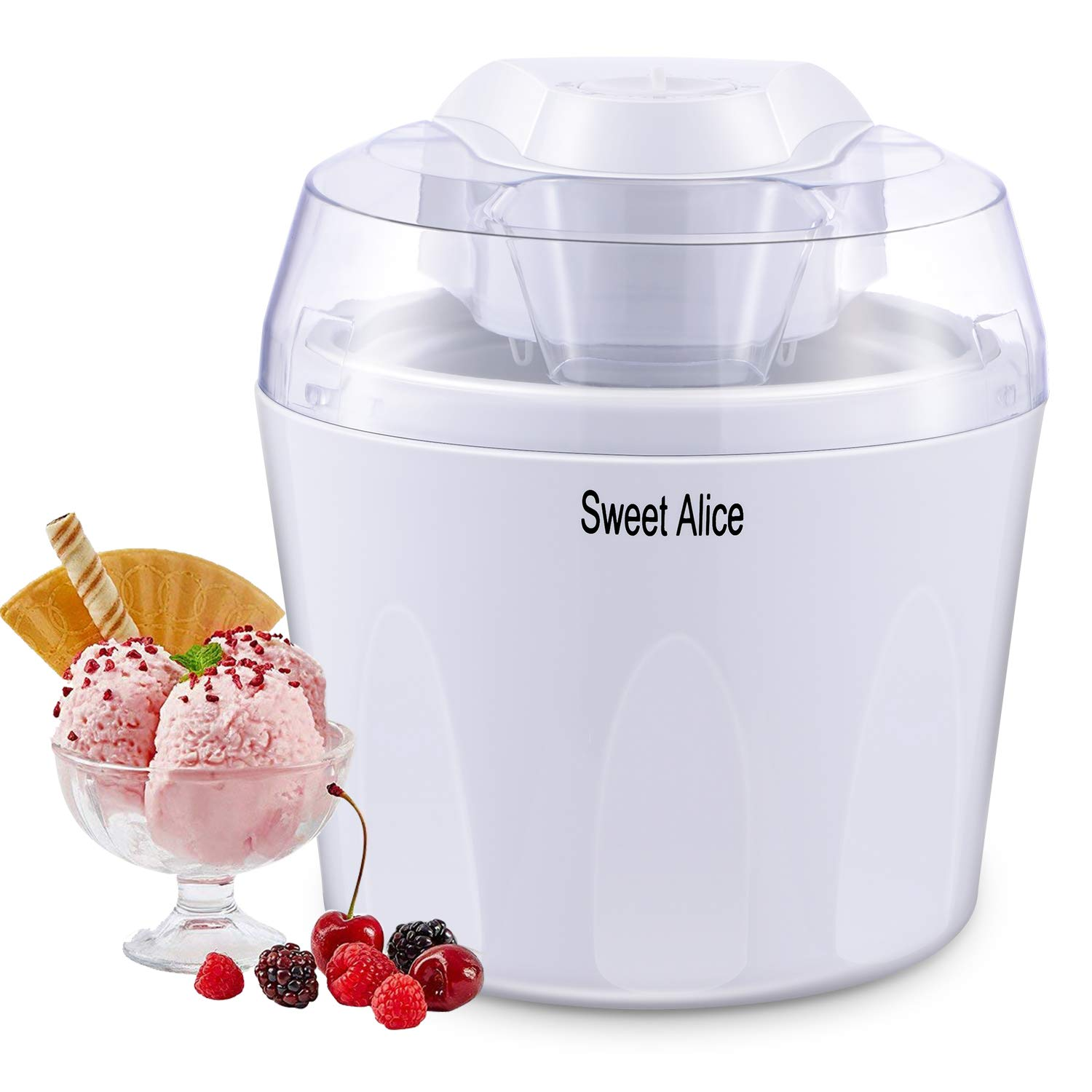Ice Cream Maker, BPA-free 1.5L Electric Ice Cream Gelato Frozen Yoghurt Sorbet Machine with Mixing Paddle and Auto Shut-off Timer
