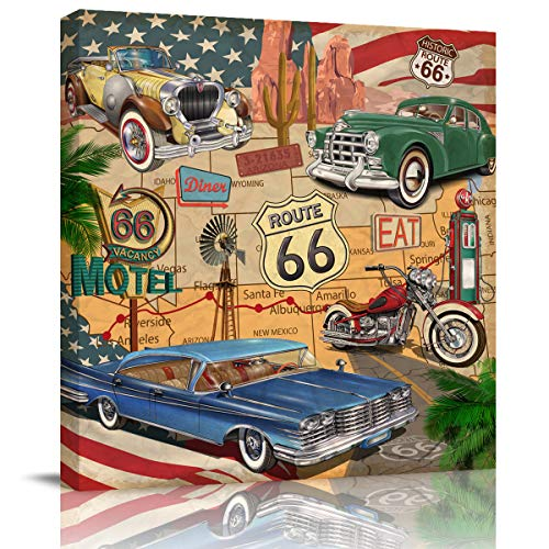Canvas Wall Art Retro Car Motel Route 66 Oil Painting,Framed Modern Giclee Wall Artwork Minimalist Wall Pictures for Home Decor Office Ready to Hang,8x8in]()