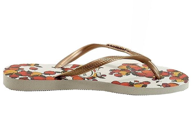 Amazon.com | Havaianas Womens Slim Fruits Fashion Flip Flop Sandal Shoes (5/6, White) | Flip-Flops