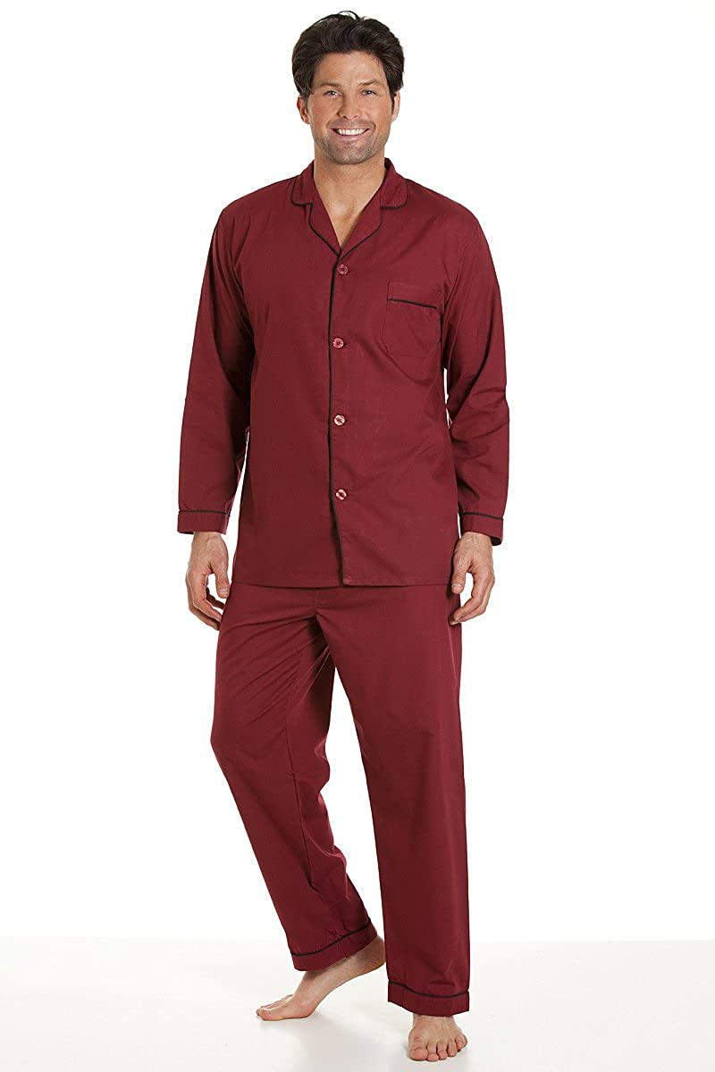 Haigman Herren Pyjama mit langem Arm und Pyjamahosen, Burgund