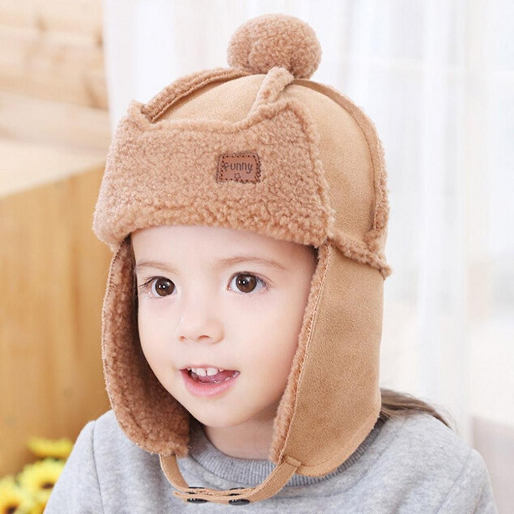 Digood Suit for 2-5 Years old Baby Girls Boys Cute Cartoon Earflap Hat Warm Lei Feng Cap