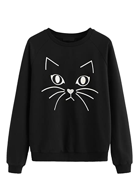 ROMWE Women s Cat Print Sweatshirt Long Sleeve Loose Pullover Shirt  Black  XS 02eafd7609