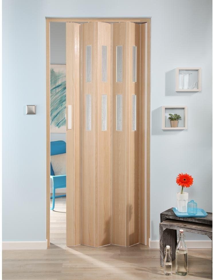 Forte de plástico Puerta plegable Luciana, madera de fresno, con 2 ventanas en estructura estriada 88 cm, madera de fresno: Amazon.es: Bricolaje y herramientas