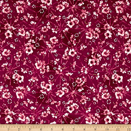 (RJR Fashion Fabrics Serene Spring Pristine Petals Cool Cherry Metallic Yard)