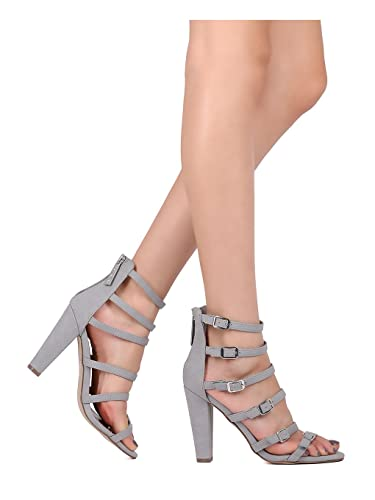 ee901610cf Amazon.com | Alrisco Women Leatherette Strappy Buckled Chunky Heel Sandal  HA91 | Heeled Sandals