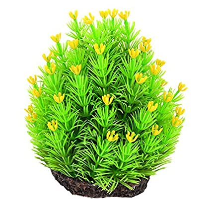 Amazon.com : eDealMax Fish Tank ornamento de hierba Artificial de agua 14 cm Altura Verde Amarillo : Pet Supplies