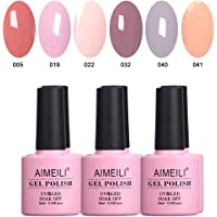 AIMEILI Soak Off UV LED Nude Pastel Vernis à Ongles Gel Semi-Permanent Lot Color Mix/Multi-Colored Kit Set Ensemble de Couleurs 6 X 10ml - Set 22