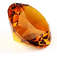 "Zoogamo 2"" / 60 mm Amber Diamond Shaped Glass Crystal Paperweight –Home Office Decor & Valentine's Day Gift Wedding…"