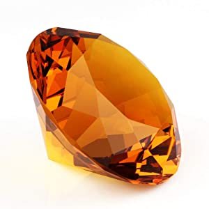 """Zoogamo 4"""" / 100 mm Amber Diamond Shaped Glass Crystal Paperweight – Home Office Decor & Wedding Favors Decoration with Gift Box"""