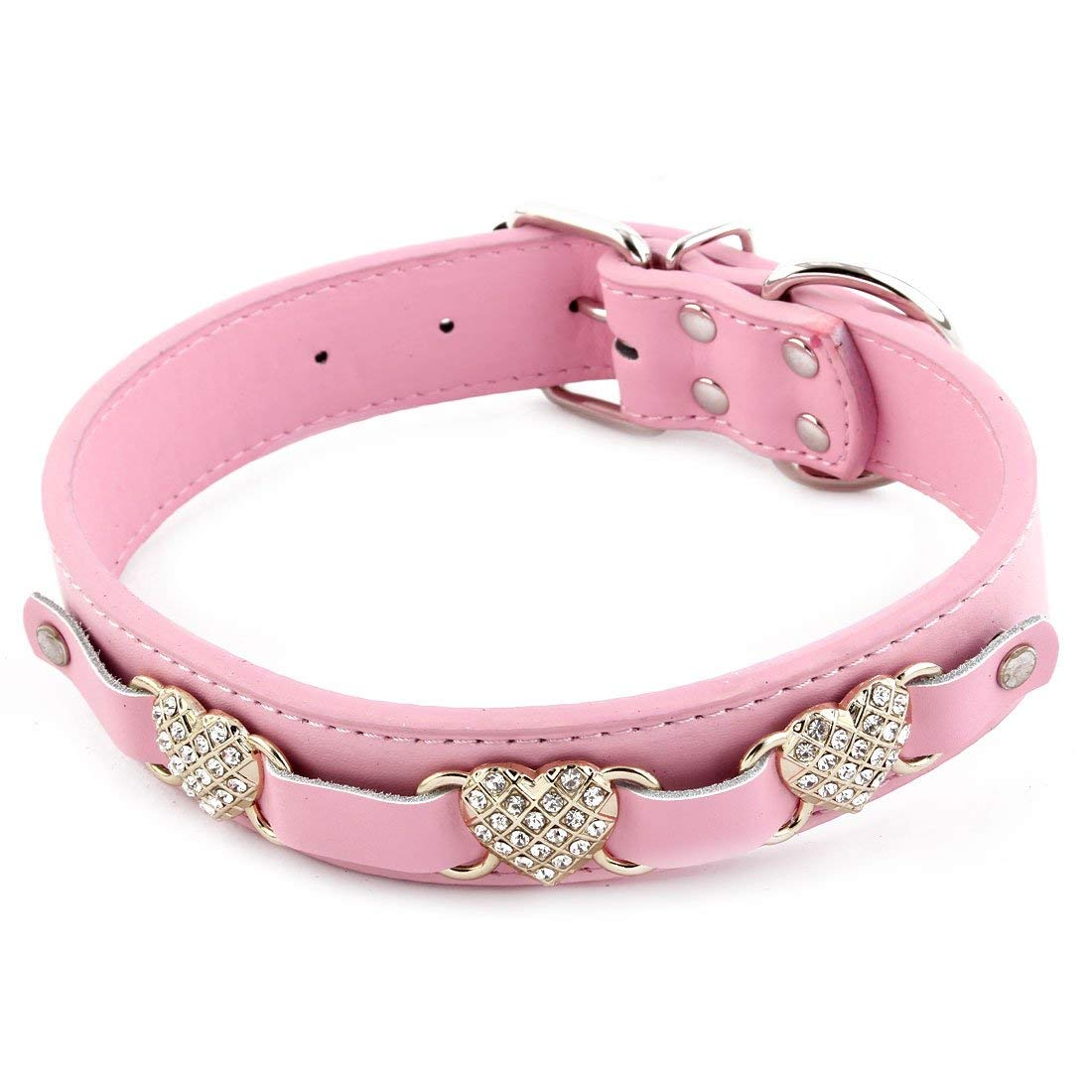 Faux Leather Pet Dog Doggy Heart Shaped Faux Rhinestone Adjustable Neck Collar Pink