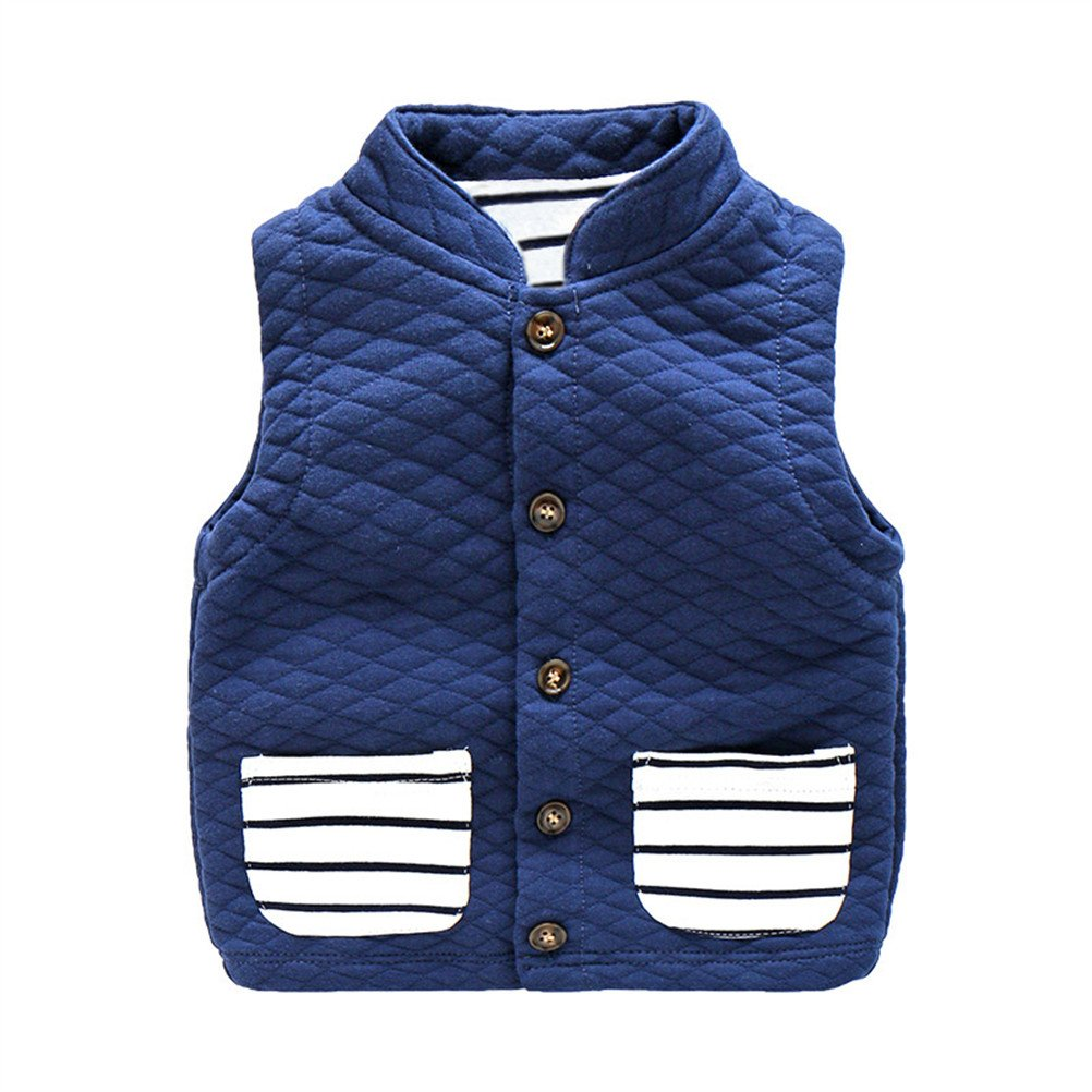 UWESPRING Kids Boys Turtleneck Stripe Vest Coat Casual Waistcoat Made in China
