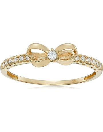 e9b8e5447 10K Gold Dainty Bow Ring set with Round Cut Swarovski Zirconia