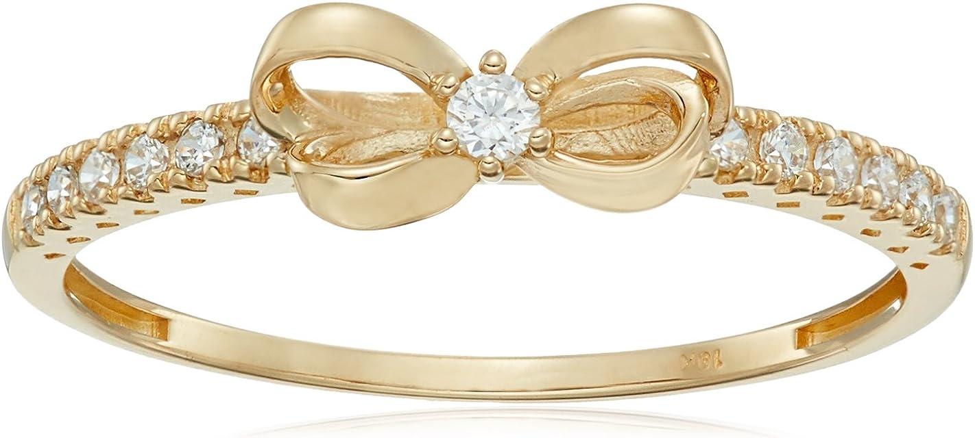 Amazon Collection 10K Gold Dainty Bow Ring set with Round Cut Swarovski Zirconia