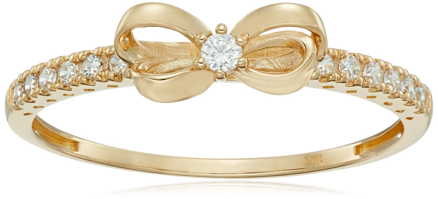 10K Gold Dainty Bow Ring set with Round Cut Swarovski Zirconia (.216 cttw), Size 6 by Amazon Collection