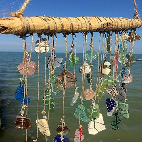 BohoBeach Glass Sun Catcher Eco Friendly Art Whimsical Driftwood Beach Wedding Swap Party Gift by Pier Beach Glass (Image #5)