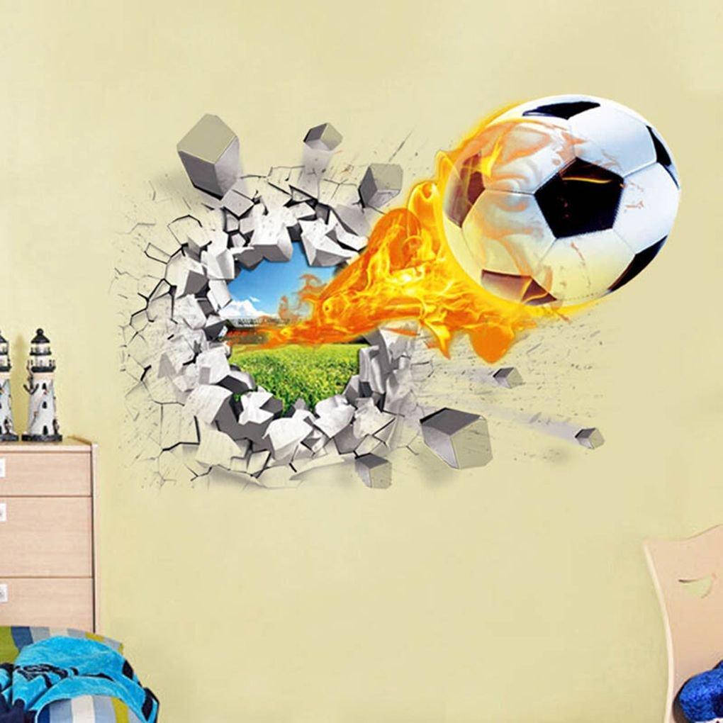 Meisijia 3D Football Pause Amovible Wall Sticker Tattoo Enfants Nursery Chambre Football Stickers d/écoratifs pour la Maison Fond d/écran