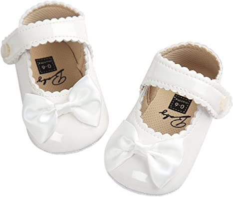 Baby Girls PU Leather Princess Mary Jane Shoes Soft Sole Bowknot Shoes
