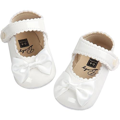 0112384c2e8aa Fire Frog Baby Girls Mary Jane Burnish Pu Leather Bowknot Pincess Prewalker  Christening Baptism Crib Shoes
