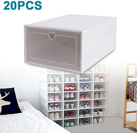 Generic Savada – Juego de 20 cajas de zapatos transparentes apilables, caja para zapatos para hombre y mujer: Amazon.es: Hogar