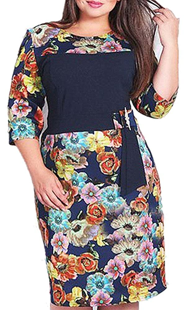 BFYK Women's Plus Size Fitted Bodycon Pencil Printed Floral Slim Short Dress B236-