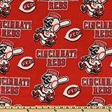 MLB Fleece Cincinnati Reds Toss White/Red Fabric By The Yard