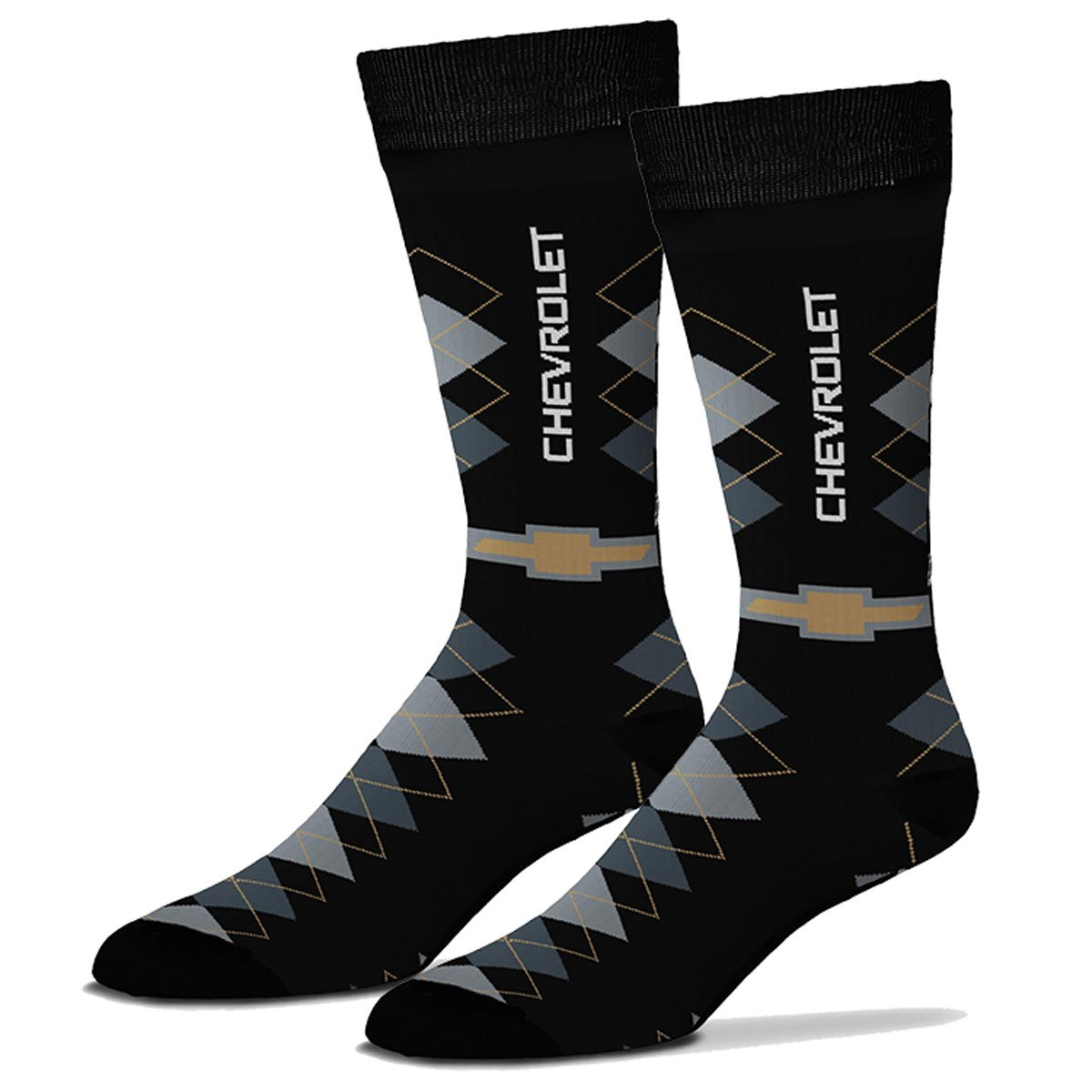 Gregs Automotive Chevrolet Chevy Bowtie Argyle Crew Socks - Bundle of 2 Items: One Pair of Socks and One Racing Decal Greg' s Automotive