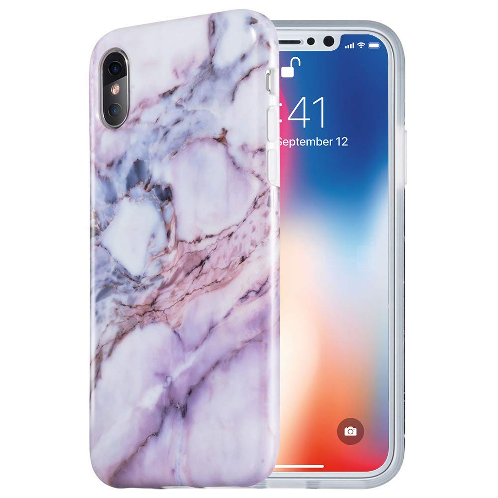 the best attitude 02e18 111d9 iPhone X Case, Caka iPhone Xs Marble Case Slim Anti Scratch Shockproof  Luxury Fashion Silicone Soft Rubber TPU Protective Case for iPhone X XS  (Pink)