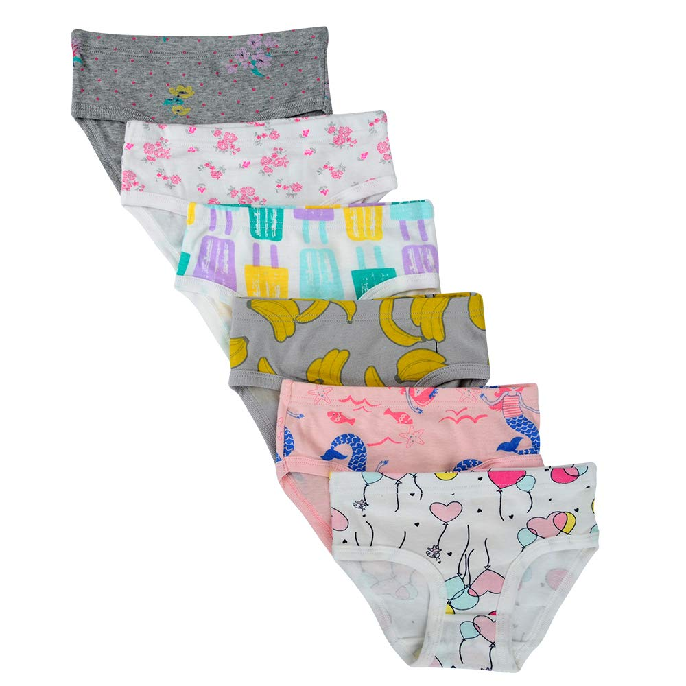 Closecret Kids Series Baby Soft Cotton Panties Little Girls' Assorted Briefs(Pack of 6)