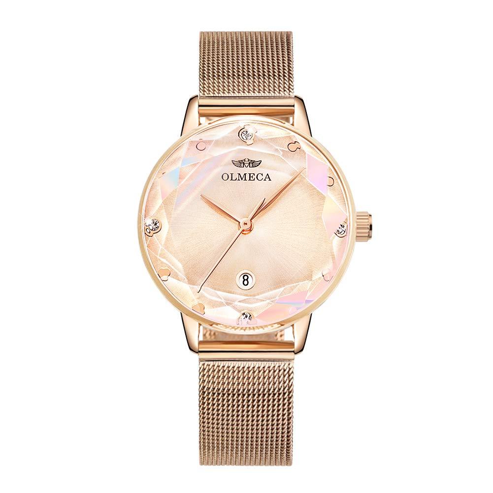 OLMECA Women s Watches Fashion Simple Watches Ultra Thin Wristwatches Waterproof Quartz Women Watches Chronograph Watch for Women Rose Gold 888