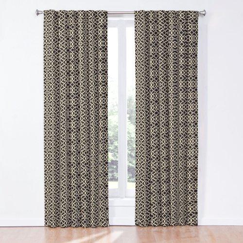 Waverly 12458050X084OYX Lovely Lattice 50-inch by 84-inch Single Window Curtain Panel, Onyx (Onyx Lattice)