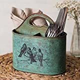 Colonial Tin Works Songbirds Metal Divided Kitchen Caddy green