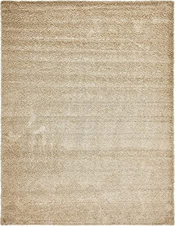 Amazon Com Unique Loom Solid Shag Collection Beige 12 X 16 Area Rug